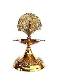 Peacock designed brass diya
