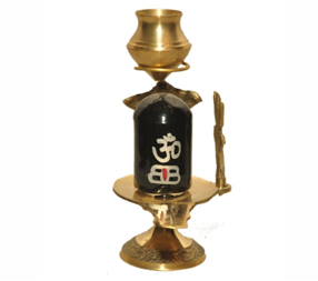 Shivling with brass stand