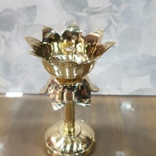 brass akhand diya lotus design