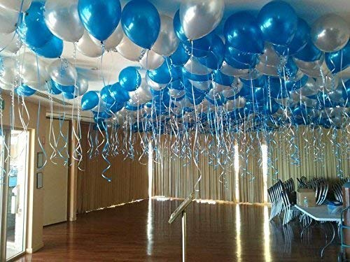 blue and silver balloons