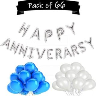 combo of Happy Anniversary Letter Foil Balloons- Silver and metallic blue ans silver balloons